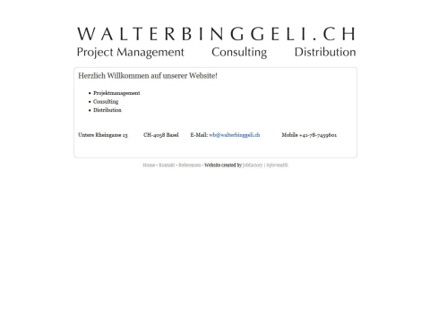 WALTERBINGGELI.CH - Projektmanagement - Consulting - Distribution